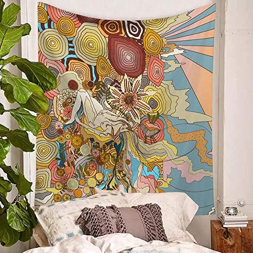 KHKJ Tapiz psicodélico para Colgar en la Pared de niña de Las Flores, tapices de Calavera Hippie para Mujer, Tela de Pared artística, decoración de Granja, Alfombra A11 200x150cm