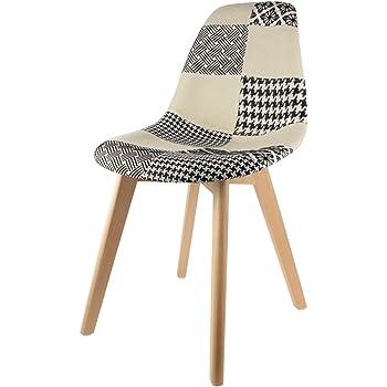 The Home Deco Factory hd3089 Stuhl skandinavischen Patchwork Holz schwarzweiß 47 x 54 x 87 cm