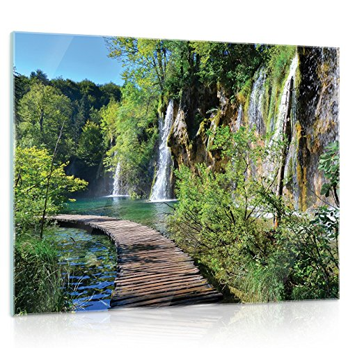 FORWALL Glasbild Glasfoto Echtglas Wandbild Brücke G5 (80cm. x 60cm.) AMFGT11845G5 Brücke Natur Wasserfall Pflanzen Bäume