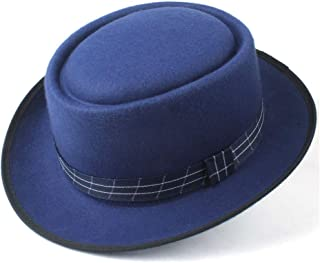2019 Mens Womens Hats Unisex Men Women Flat Top Hat Autumn Pop Church Travel Hat Pork Pie Hat with Cloth Dance Party Hat for Dad Wool Flat Fedora Hat Size 56-58CM (Color : Blue, Size : 58)