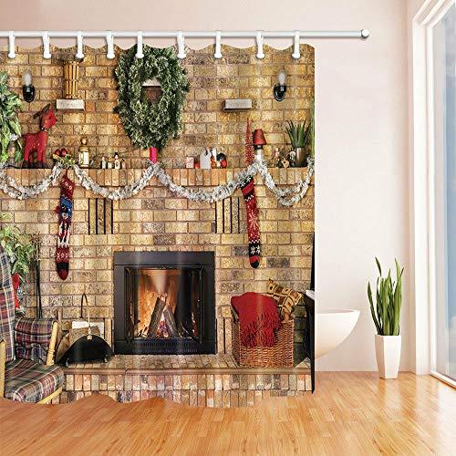 Weihnachtsstrümpfe und gemauerter Kamin Duschvorhang Badezimmer Stoff & 12 Haken