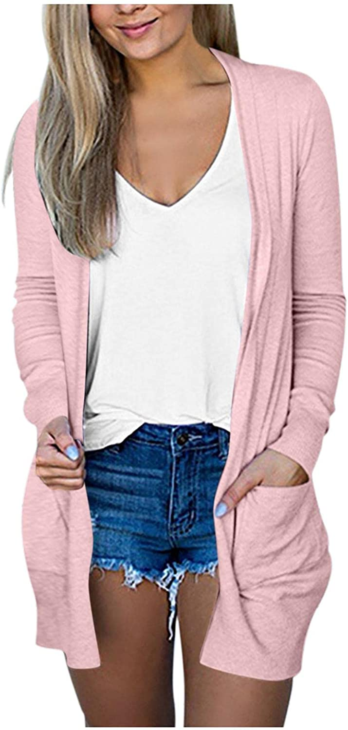 Mingleigo Women's Cardigans with Pocket Casual Solid V-Neck Lightweight Open Front Cardigan Sweater for Women Coat Outerwear