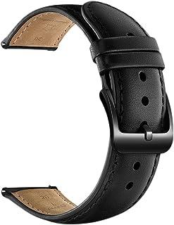 Feicuan Men Genuine Leather Watch Band 20mm Width for Samsung Gear Sport Gear S2 Classic,Moto 360 2nd Gen Men's 42mm Smart Watch Watchband -Black