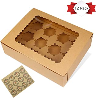 LH 12 Pack Kraft Paper Cupcake Boxes, Gift Boxes with Stickers and Clear Window, Cupcake Containers Carriers Bakery Cake Box with Insert, 12 Cavity, Set of 12 Brown