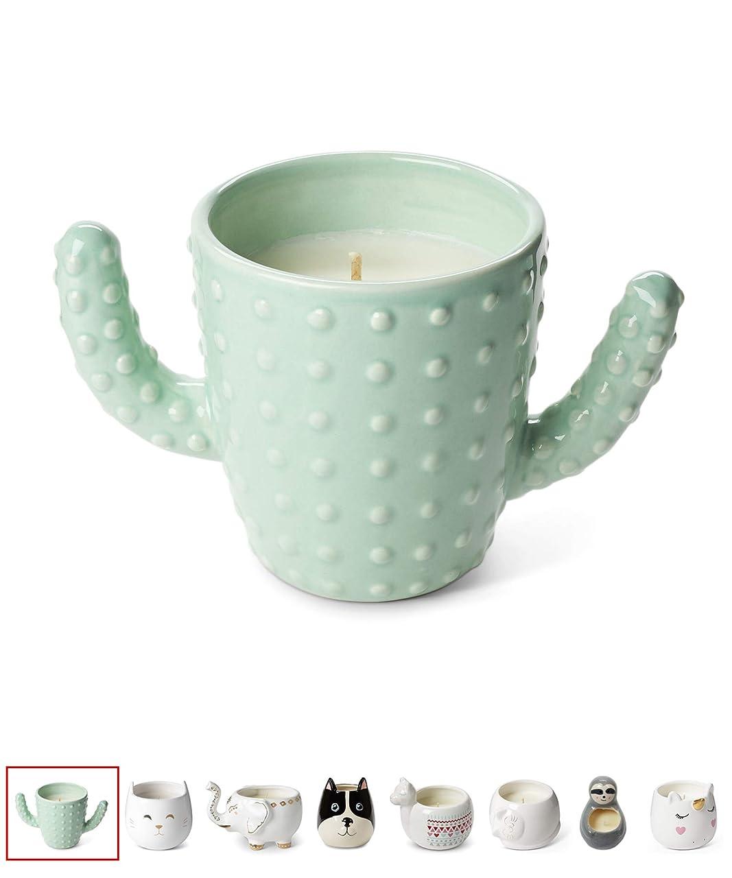 弱いジュースワックスTri-coastal Design Small Cute Scented Wax Candles Ceramic Cactus Shaped Candle for Aromatherapy, Stress Relief and Relaxation - Calming Aroma Scented Luxury Candle - 12 Oz 141[並行輸入]