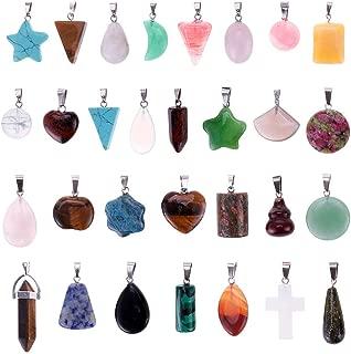 Mix Random 30pcs Natural Stone Like Pendants Charms Jade Turquoise Stone Beads Bracelet Necklace Jewelry Findings Gemstone (Mix Styles)
