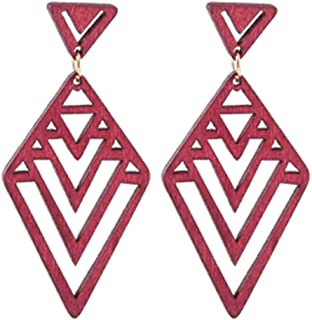 Natural Wooden Geometric Hollow Inverted Triangle Earrings Personality Women Gift