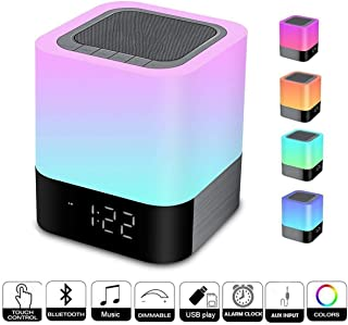 Homcasito Night Light Bluetooth Speaker,Bedside Lamps Touch Sensor Dimmable Warm White Light Color Changing Alarm Clock Best for Kids,Party,Bedroom,Camping Gift
