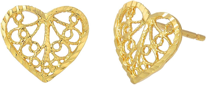 14K Yellow gold Heart Filigree Stud Earrings, 18