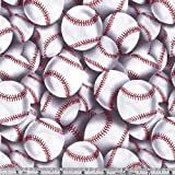 Timeless Treasures Baseball Toss Quilt Fabric by the Yard, White