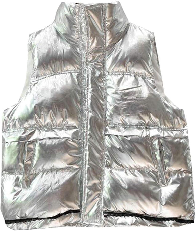 GenericWomen Quilted Sleeveless Metallic Thick Jacket Puffer Vest Outerwears