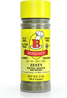 Bensons - Zesty Lemon and Herb Seasoning - Salt-Free, Sugar-Free, Gluten-Free, No MSG, No Preservatives, No Potassium Chlo...