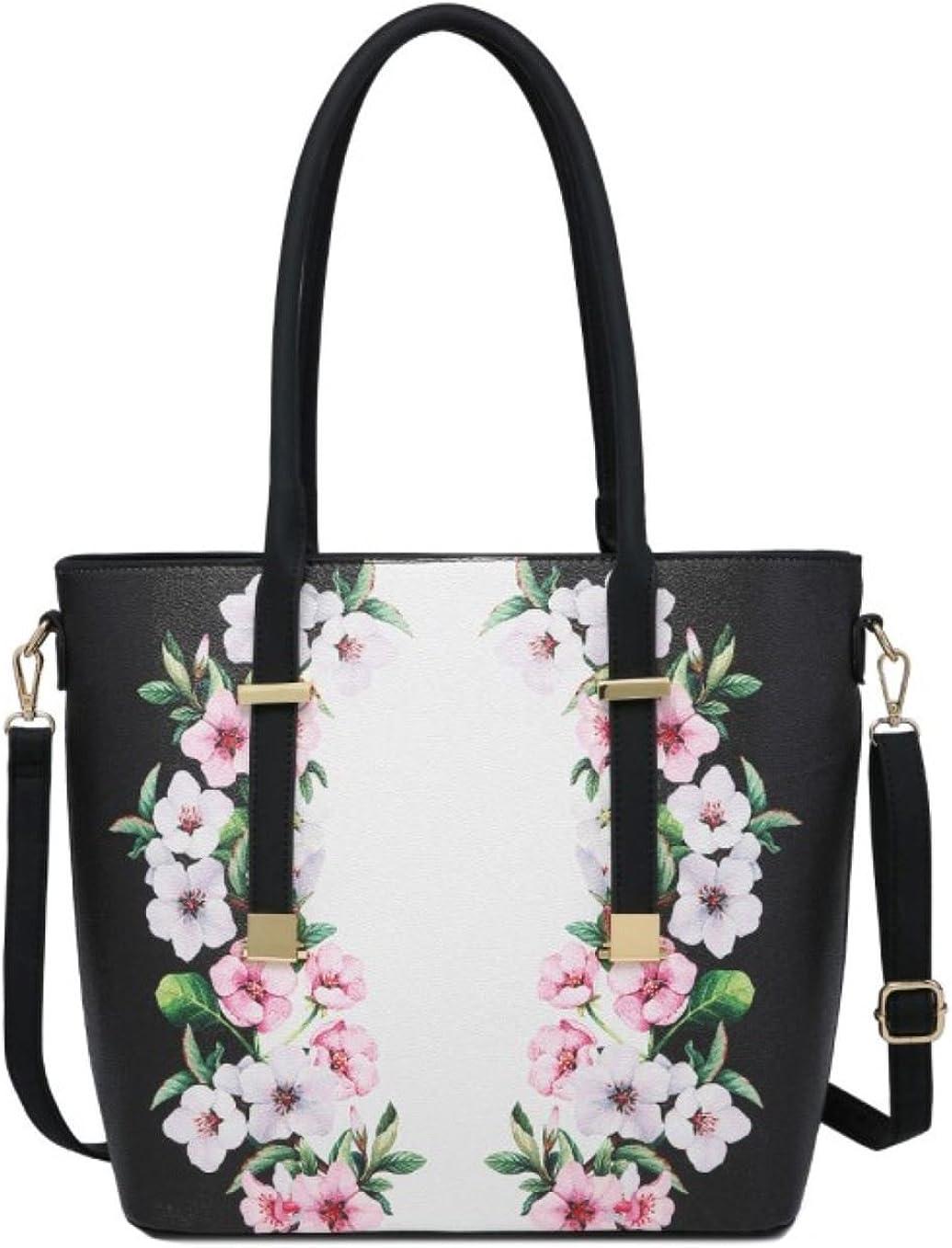 Girly Handbags Flowers Print Top Handle Bag