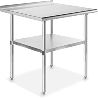 GRIDMANN NSF Stainless Steel Commercial Kitchen Prep & Work Table w/Backsplash - 30 in. x 24 in.