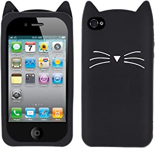 YONOCOSTA iPhone 4 Case, iPhone 4S Case, Funny 3D Cute Cartoon Whisker Cat Kitty Case, Soft Rubber Silicone Slim Fit Shockproof Back Cover for iPhone 4 / iPhone 4S (Whisker Cat Black)