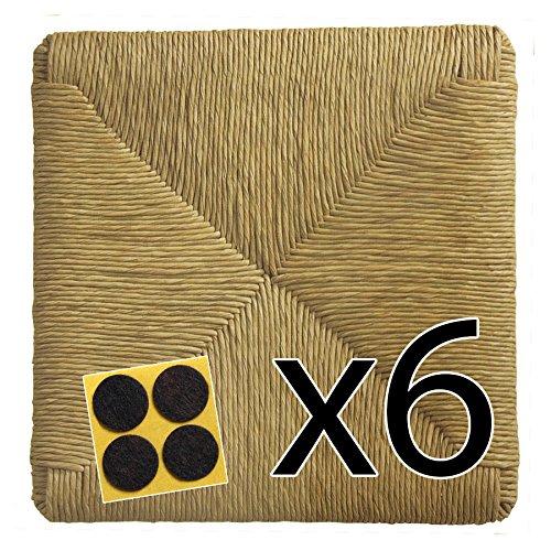 Fondi in paglia 37x37 ricambi per sedie impagliate [set di 6 pz] + feltrini in omaggio