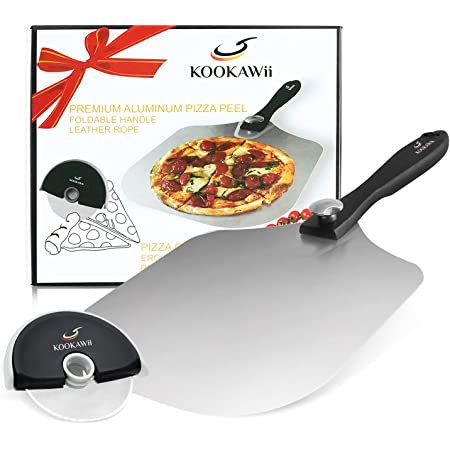 KOOKAWii Pizza Peel Commercial Grade Aluminum Metal Pizza Spatula - 12'' X 14'' Pizza Paddle with Foldable Wooden Handle-Pizza Cutter with Protective Cover- Pizza Slicer Slicing Pizza for Father's day