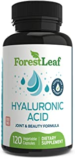 Hyaluronic Acid Dietary Supplement, 100 mg - 120 Vegetable Capsules – Joints, Bones and Connective Tissue Formula - Daily Anti Aging Beauty Serum for Healthy Skin, Hair and Eyes – by ForestLeaf