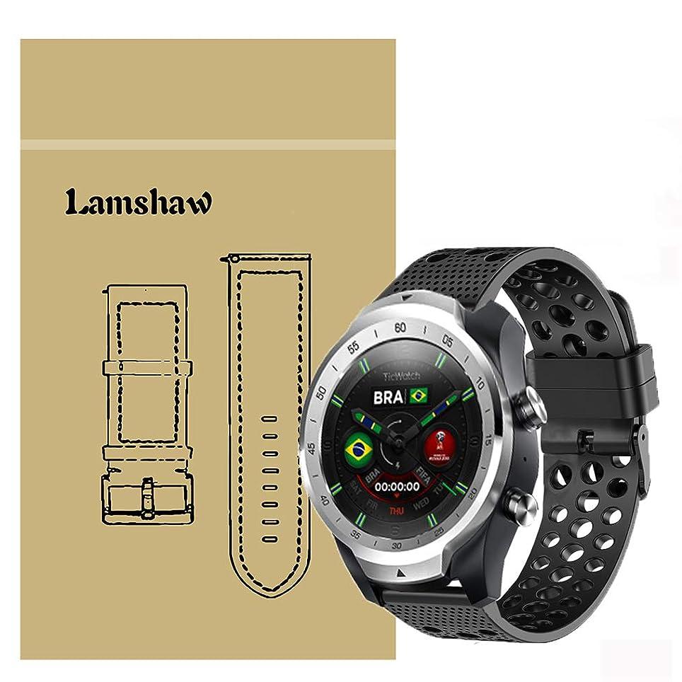 航空便試みるゲートLamshaw Ticwatch Pro バンド, スポーツ シリコン 高品質 ベルト 交換バンド 対応 Ticwatch Pro スマートウォッチ 腕時計 (ブラック)