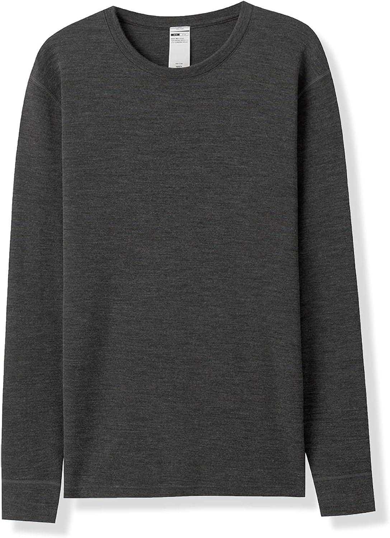 LAPASA Men's 100% Merino Wool Thermal Underwear Top Crew Neck Base Layer Undershirt Lightweight & Midweight M29, M67