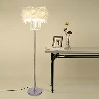 Hsyile Lighting KU300180 Modern and Simple Crystal Feather Floor Lamp Home Lighting for Living Room Bedroom, Lampshade White,3 Lights