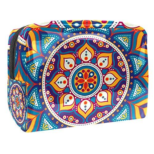 TIZORAX - Trousse de maquillage circulaire mandala abstraite - En PVC - Trousse de toilette de voyage - Organiseur pratique pour femme