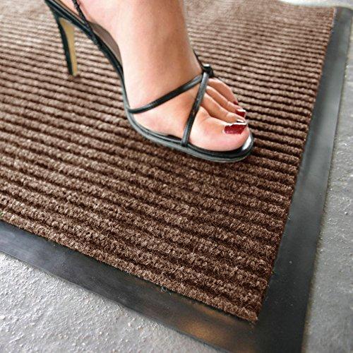 FunkyBuys, zerbino a coste resistente, tappeto antiscivolo in gomma per porta, corridoio o cucina, di piccole, medie e grandi dimensioni, Brown, 66 x 185 cm