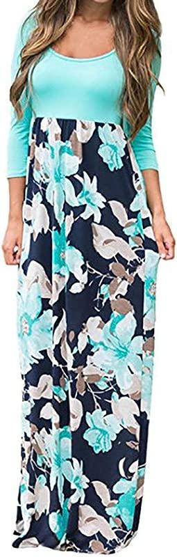 RoDeke Women S Summer O Neck Casual Loose Floral Print Short Sleeve Bohemian Beach Maxi Dress
