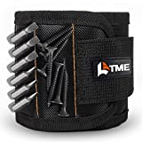 LATME Magnetic Wristband with 15 Strong Magnets for Holding Screws Nails Drill Bits-Best Armband Tool for DIY Handyman Unique Gift for Men (Black)