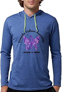 CafePress - Domestic Violence Butterfly 6. Long Sleeve T-Shirt - Mens Hooded Shirt