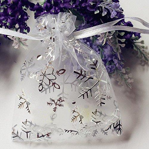 Kingfly 50 pezzi, a forma di fiocco di neve, in confezione regalo in Organza, ideali per matrimoni, con cordino rosa