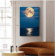 Zhaoyangeng Foto's in Scandinavische stijl met zee en maan op canvas, moderne muurschildering, voor woonkamer-decoratie, 5...