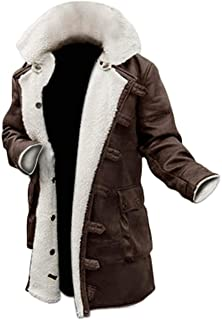 Brown Leather Trench Coat Mens - Black Winter Shearling Jacket Men