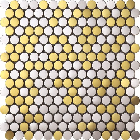 Bello Pulsante Tondo Art Deco metallo mosaico acciaio inossidabile Mosaico muro300*300mm--Cucina Backsplash/Parete da bagno/decorazione domestica(SA021)