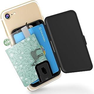 Sinjimoru 貼り付け型スマホカードケース、Android・iPhone SE 2020など携帯電話やスマホケースの背面に IC SUICAカード収納できる定期入れ 携帯ステッカーポケット。Card Zip ブラック