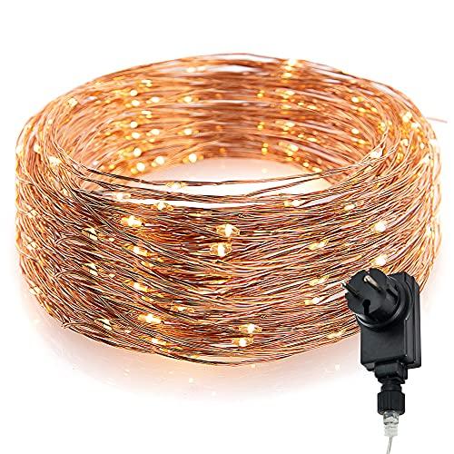 CozyHome, catena luminosa con filo di rame, 100 luci a LED, adatta per ambienti interni ed esterni,12 metri, colore della luce bianco caldo, non alimentata a batterie ma tramite presa