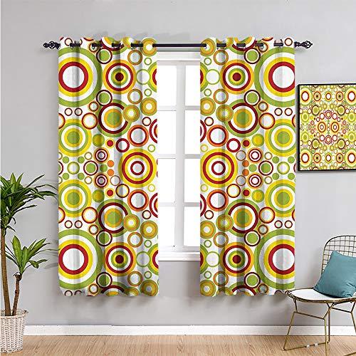 Pcglvie Colección de decoración geométrica cortina oscurecida, cortinas de 182,88 cm de largo para mantener un buen sueño, amarillo, verde, rojo, 163 cm de ancho x 182,88 cm de largo