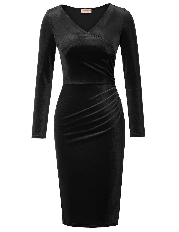 Belle Poque Women's Long Sleeve Soft Velvet Pleated Crossover Bodycon Pencil Dress