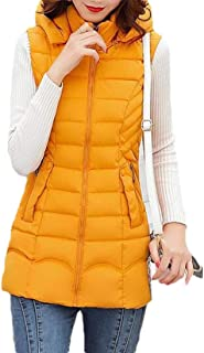 Macondoo Womens Fashion Puffer Quilted Cotton-Padded Waistcoat Hooded Vest