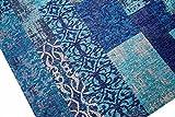 Moderner Teppich Designer Teppich Orientteppich Wohnzimmer Teppich mit Karo Muster in Türkis Blau Größe 200 x 290 cm - 4
