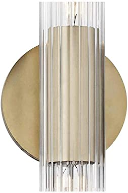 Mitzi H177102S-AGB Contemporary Modern Two Light Wall Sconce from Cecily Collection in Bronze/Dark Finish, Aged Brass