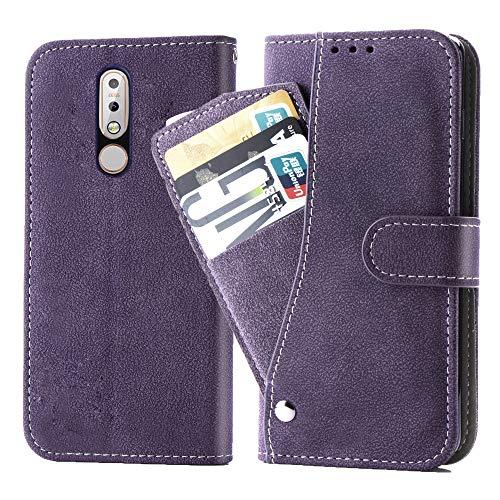 Asuwish Nokia 7.1 Hülle,Leder Lederhüllen klappbar Schutzhülle Wallet Hülle Mit Kartenfach Ständer Stand Dünn Stoßfest HardWallet Hülle Panzerglas + Handyhülle für Nokia 7.1 Lila