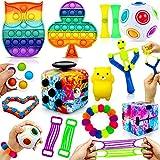 MarckersHome Set di Giocattoli agitarsi Confezione di Giocattoli sensoriali cubo Infinito Spingi la Bolla Palla agitata14 Pezzi Autismo ADHD Antistress Colorato Aula Ufficio Regalo Bambini Adulti