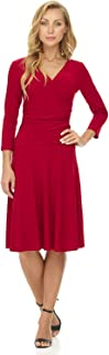 Rekucci Women's Slimming 3/4 Sleeve Fit-and-Flare Crossover Tummy Control Dress