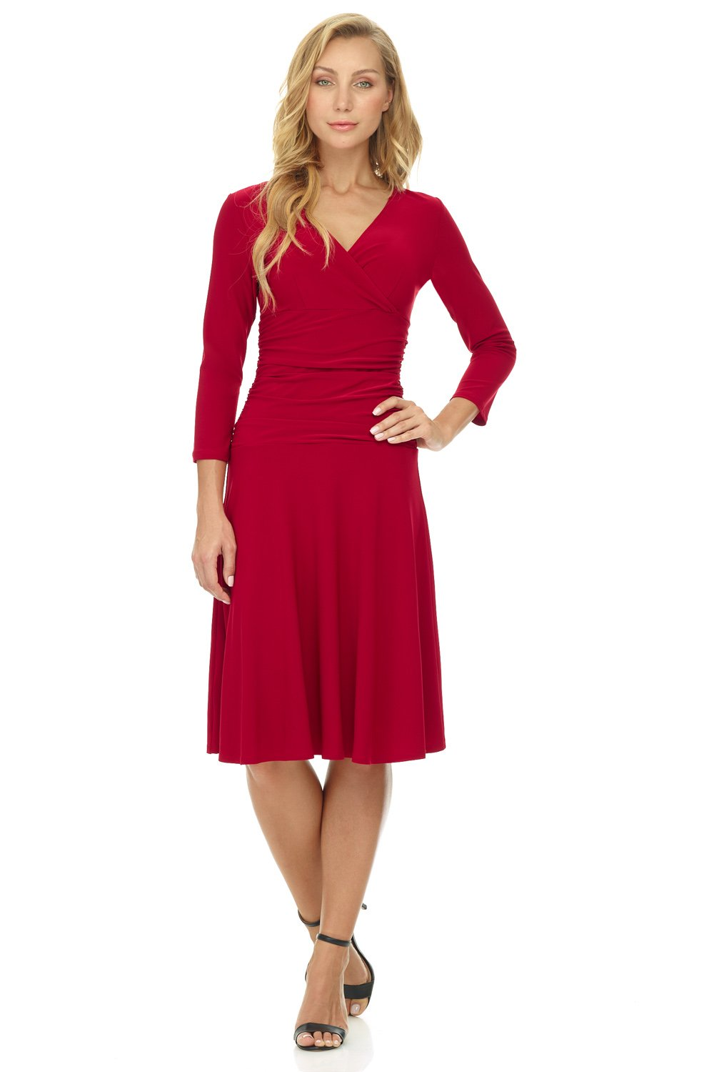Red Dress - Women's Vintage Floral Lace Long Sleeve Boat Neck Cocktail Party Swing Dress