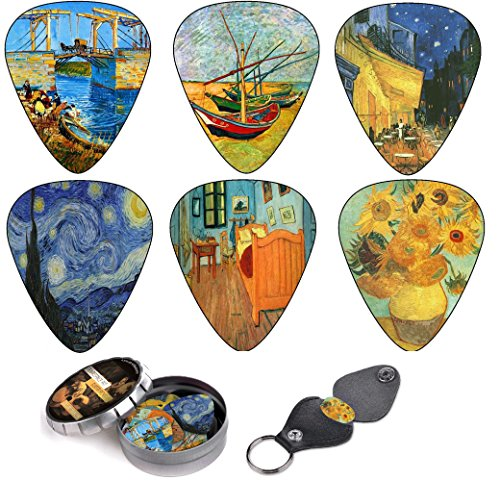 Juego de púas de guitarra de obras de Vincent Van Gogh – Set de regalo para guitarristas – Pack de 12 púas de celuloide de dureza media + caja de lata + portapúas – Oferta por tiempo limitado