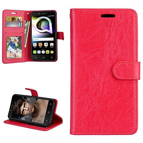 Alcatel Shine Lite Hülle Elegant Leder Tasche Weiche Glatte Schutzhülle, Handyhülle Flip Case Cover Stoßfest Handytasche Brieftasche Magnetverschluss Schale Standfunktion, Rot