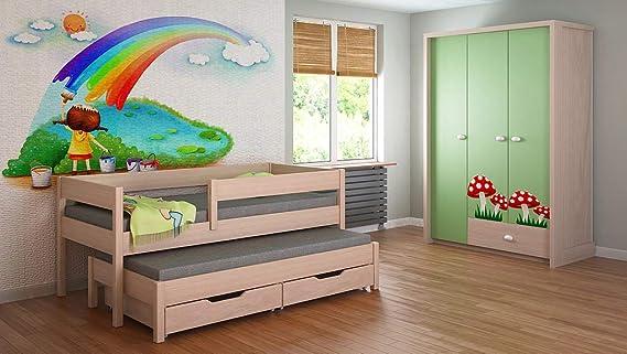 Childrens Beds Home Cama Nido para niños Niños Juniors Colchón Sin cajones y sin colchón Incluido (180x90, Blanco)