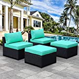 Armless Chairs and Ottomans Set 4 Pieces, OutdoorPatio SectionalWicker Furniture Chairs, Patio Conversation Rattan Sofa Set with Turquoise Cushions