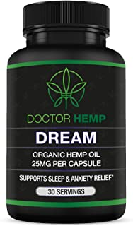 Doctor Hemp Dream | for Sleep Support & Anxiety Relief | 750mg of Organic Hemp Oil + Melatonin, Chamomile, Valerian Root, ...